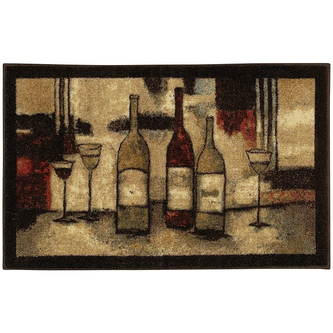 Mohawk Home Wine and Glasses Brown Kitchen Rug (2'6 x 3'10)