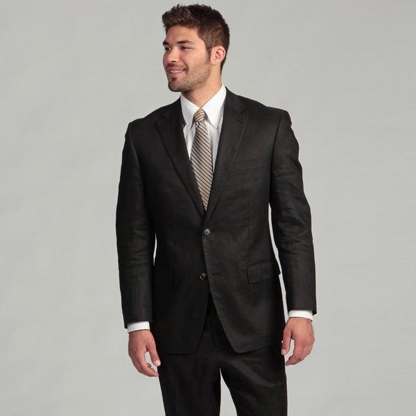 Sean John Men's Black Two-button Linen Suit