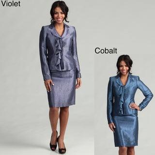 Anne Klein Women's Single Breasted Ruffled Skirt Suit