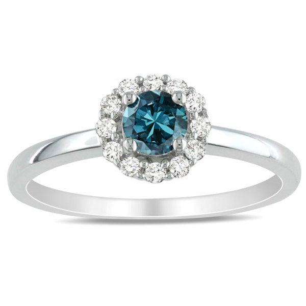 Miadora 10k White Gold 1/2ct TDW Blue and White Diamond Halo Engagement Ring (H-I, I1-I2)
