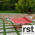 RST Brands Cantina Arc Hammock Stand with Striped Poly Hammock with Bolster Pillow