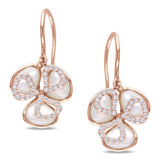 Miadora Signature Collection 14k Pink Gold Faux Pearl and 2/5ct TDW Diamond Earrings (H-I, SI2)