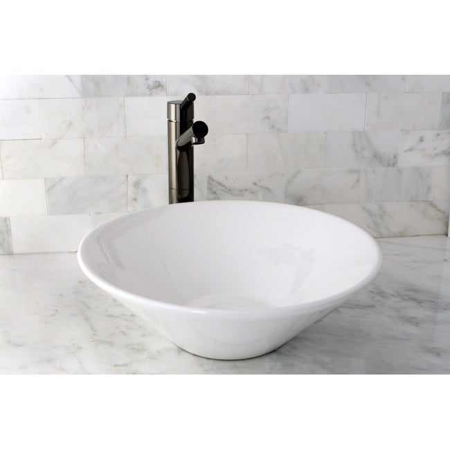Vessel Vitreous China White Bathroom Sink