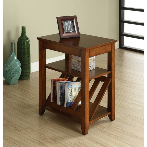 Furniture of America Antique Oak 1-drawer Magazine-rack End Table