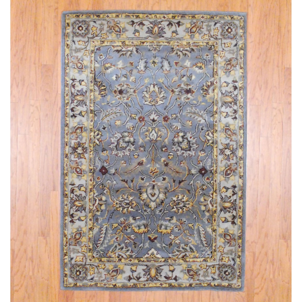 Indo Hand-tufted Gray/ Ivory Wool Rug (4' x 6')