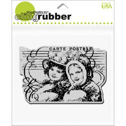 Stampendous Christmas Postcard Pair Cling Rubber Stamp