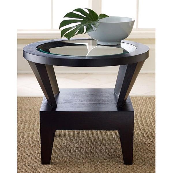ABBYSON LIVING Morgan Round Glass Espresso End Table