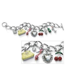 PalmBeach Enamel and Silvertone Crystal Uptown Girl Charm Bracelet Bold Fashion