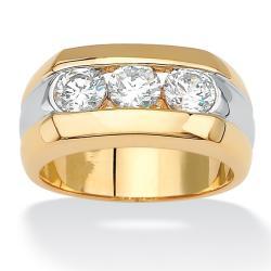 PalmBeach CZ Goldplated Men's Cubic Zirconia Ring
