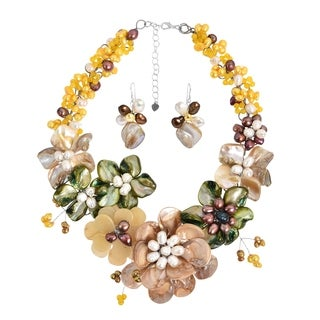 Golden Gradual Flower Bouquet Statement Jewelry Set (Thailand)