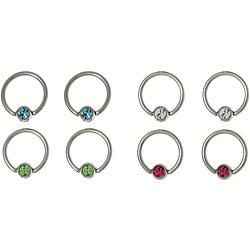 CGC Stainless Steel Gem Ball Captive Rings (Set of 4)