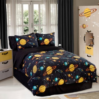 Galaxy Glow In The Dark 4-piece Queen-size Comforter Set