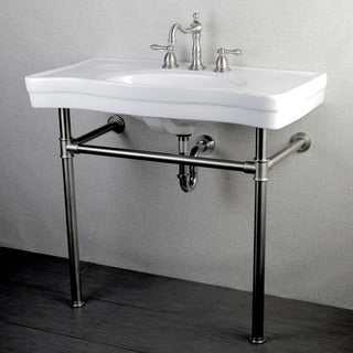 Imperial Vintage 36-inch Satin Nickel Pedestal Center Bathroom Sink Vanity