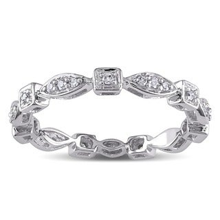 Miadora 10k White Gold Geometric Diamond Band (H-I, I1-I2)