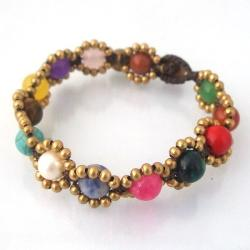 Round Multistone Fusion Brass Beads Embellished Bracelet (Thailand)