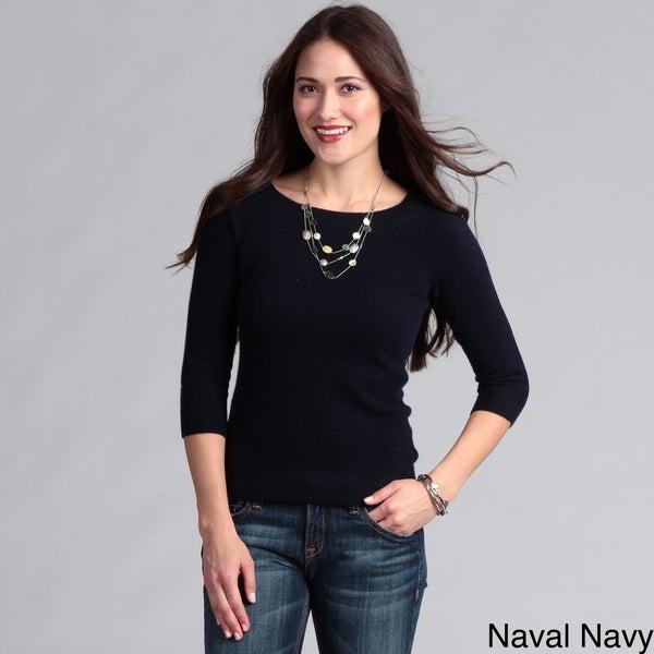 Grace Cashmere Women's Cashmere 3/4-sleeve Sweater