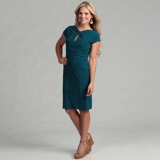 Marina Women's Teal Twist Neck Dress
