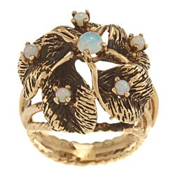 Pre-owned 14k Yellow Gold Opal Cluster Circa 1970's Ring