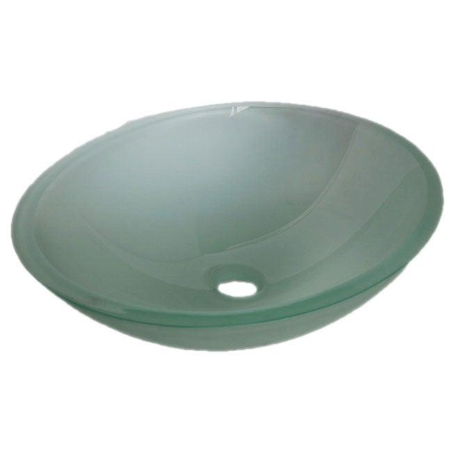 Semi-frosted Oval Glass Vessel Sink