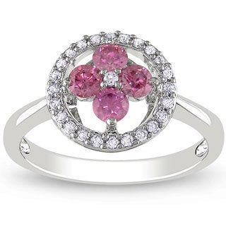 Miadora 14K White Gold 1/2Ct TDW Pink and White Diamond Floral Ring