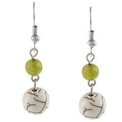 Crystale Silvertone White Howlite and Adventurine Bead Earrings