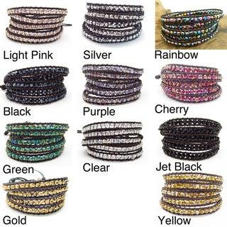 Mystique Colored Crystal 5-wrap Leather Bracelet (Thailand)