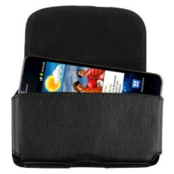 INSTEN Black Universal Leather Cell Phone Case Cover with Clip
