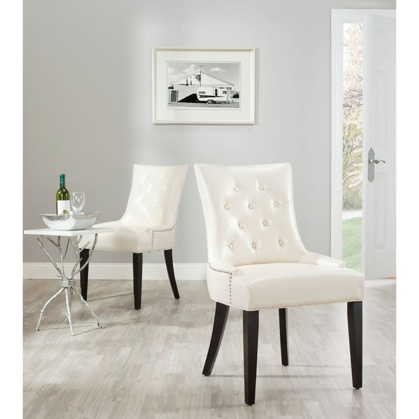 Safavieh Abby Cream Leather Nailhead Side Chairs (Set of 2)