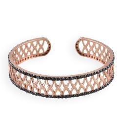 Icz Stonez Rose Gold Overlay Black Cubic Zirconia Cuff Bracelet