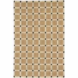 Hand-woven Mandara Checkerboard Patterned Tan and Black Rug (7'9 x 10'6)