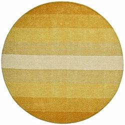 Hand-tufted Yellow Stripe Wool Rug (8' Round)