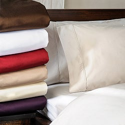 Luxor Treasures Cotton Sateen 1500 Thread Count Solid Marrow Stitch Pillowcases (Set of 2)