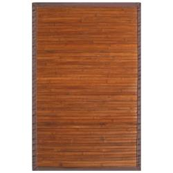 Truffle Bamboo Rug with Brown Border (5' x 8')