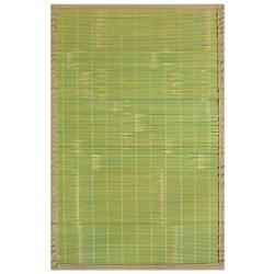 Citroen Green Bamboo Rug with Tan Border (5' x 8')