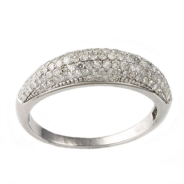 Beverly Hills Charm 10K White Gold 1/2ct. TDW Micro-Pave Domed Diamond Band Ring (H-I, I2)