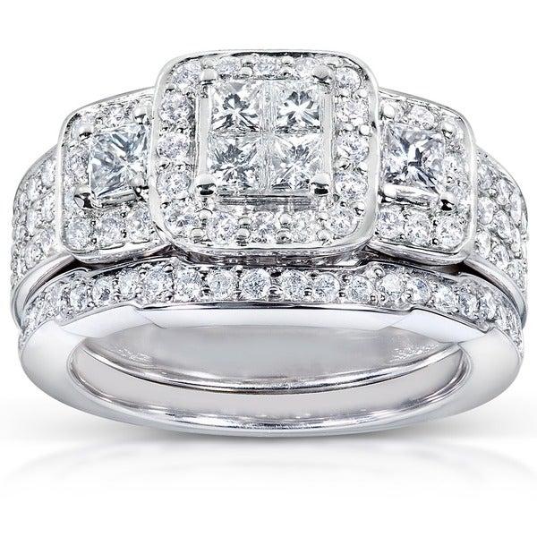 Annello 14k White Gold 1 1/6ct TDW Diamond Bridal Ring Set (H-I, I1-I2)