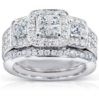 Annello 14k White Gold 1 1/6ct TDW Diamond Bridal Ring Set (H-I, I1-I2) with Bonus Item
