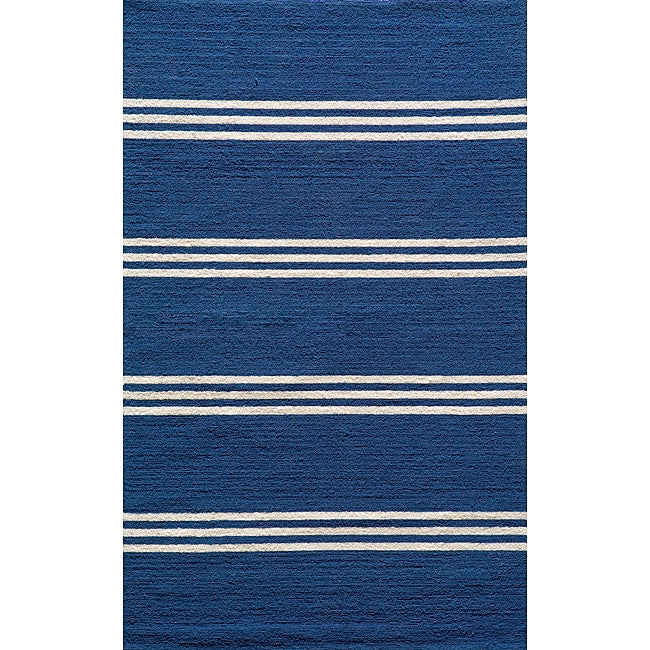 South Beach Indoor/Outdoor Blue Stripes Rug (8' x 10')
