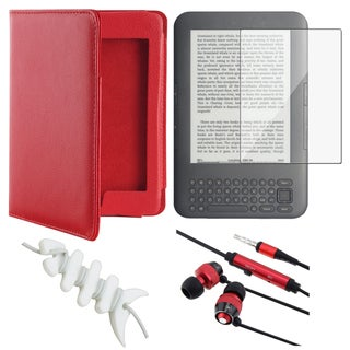 BasAcc Red Leather Case/ Protector/ Headset for Amazon Kindle Touch