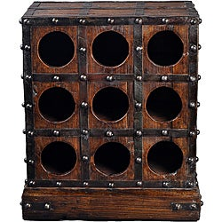 Classic Wooden Wine Rack with Iron Finish