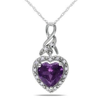 Miadora 10k White Gold Created Alexandrite and Diamond Accent Necklace