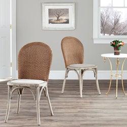 Safavieh La Rochelle Antiqued Oak Finish Taupe Side Chair (Set of 2)
