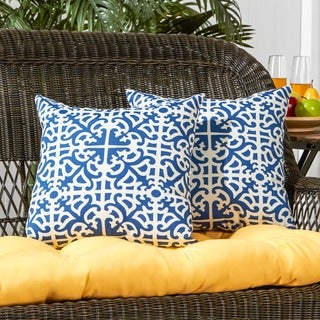 17-inch Outdoor Indigo Square Accent Pillow (Set of 2)