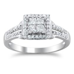 14k White Gold 1/2ct TDW Diamond Composite Engagement Ring (H-I, I1-I2)