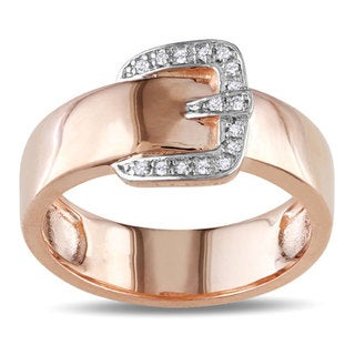 Haylee Jewels 18k Pink Gold over Silver Diamond Accent Buckle Ring