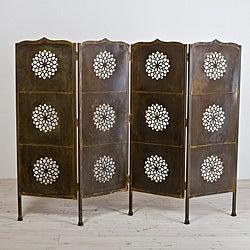 Lotus Black Lacquer Four-Panel Screen (India)