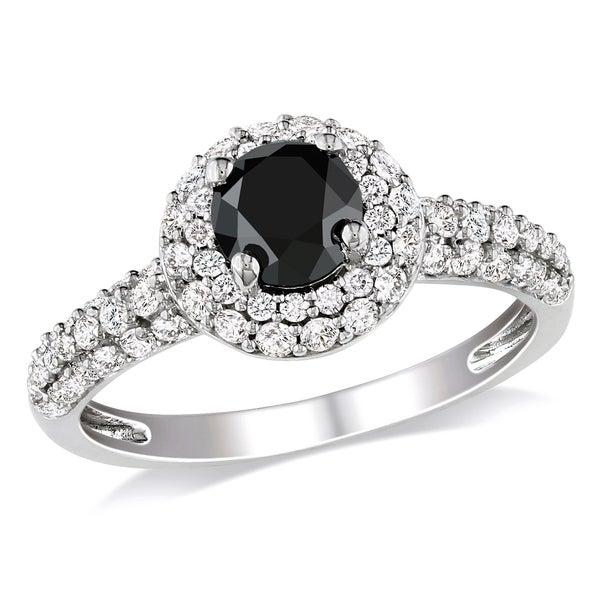 Miadora 10k White Gold 1 1/3ct TDW Black and White Diamond Halo Ring (H-I, I2-I3)
