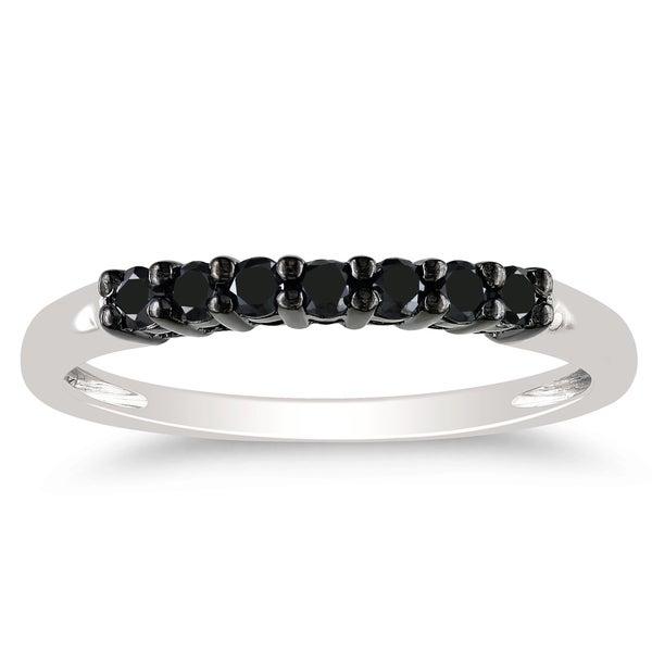 Haylee Jewels 10k White Gold 1/4ct TDW Black Diamond Ring