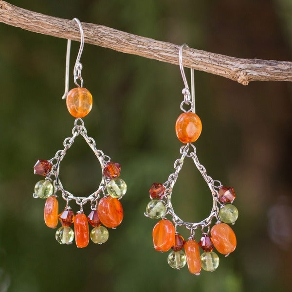 Sterling Silver 'Dewdrops' Carnelian and Peridot Earrings (Thailand)