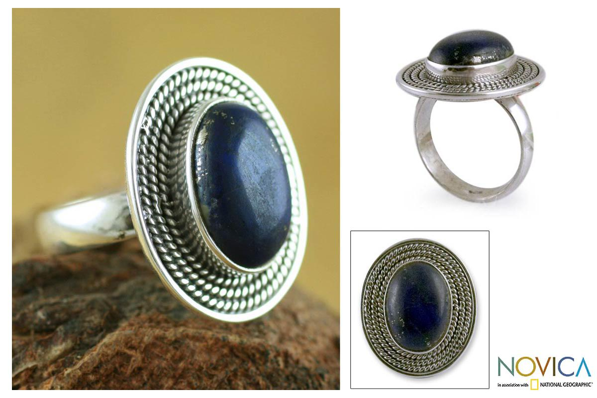 Sterling Silver 'Mystic Intuition' Lapis Lazuli Cocktail Ring (India)